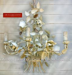 Lampadari, lampade, applique, lanterne in ferro battuto. GBS Tole Floral Lamps, hand-made in Florence since Made in Tuscany