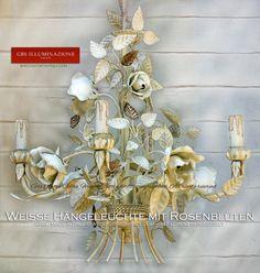 Weiße Hängeleuchter mit Rosenblüten Shabby Chic Romantik