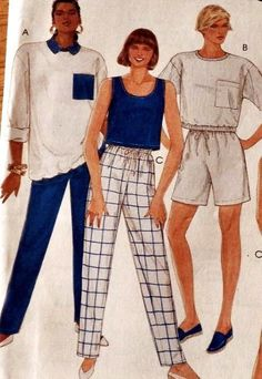 Misses Knit Tops Shorts & Pants Pattern   McCalls Pattern 3179  New Uncut Factory Folded  Vintage Collectible from 1987  Includes Patterns for 6 Styles of  Tops, Shorts and Pants to make!  Misses Size= 16, 18, 20
