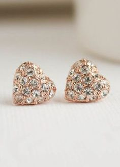 Rose Gold Stud Bridal Earrings Heart