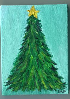 Original Christmas Tree Painting on Mini Canvas by SharonFosterArt, $22.00
