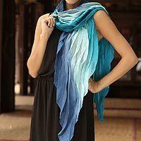 'Blue Magnificence' batik #scarf designed by Vinita