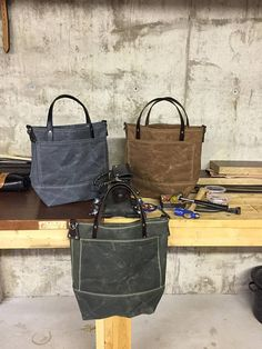 Handmade Waxed Canvas Tote Bag / Waxed Canvas Bags / Carry