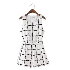 Ink Plaid Print Jumpsuits Overalls O-Neck Sleeveless Casual Rompers