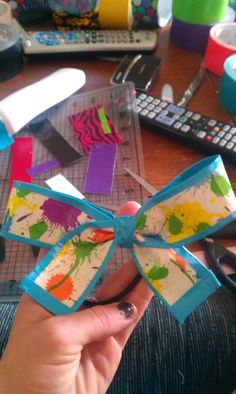 """""""Just a splash"""" duct tape cheer bow"""