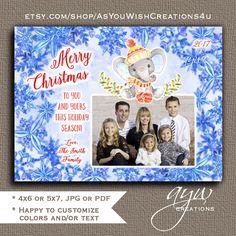 Elephant Christmas Card Printable Christmas Card Printable Elephant Watercolor Holiday Card Watercolor Elephant Christmas Card with Photo