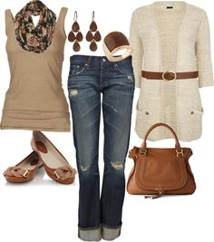 Outfit: Beige Sweater, Tan Tank top, Brown Belt, Flats purse. Denim Capri. Print Scarf. Clothes Casual Outift for • teens • movies • girls • women •. summer • fall • spring • winter • outfit ideas • dates • parties Polyvore :) Catalina Christiano