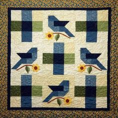 Indigo Song features indigo bunting birds and sunflowers using the quick fuse applique method. Finished size: x Applique Quilt Patterns, Barn Quilt Patterns, Bird Patterns, House Quilts, Barn Quilts, Small Quilts, Mini Quilts, Quilting Projects, Quilting Designs