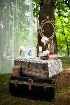 Love this little vignette!  Wedding of the Week: Soft Vintage Chic » Inspiring Pretty