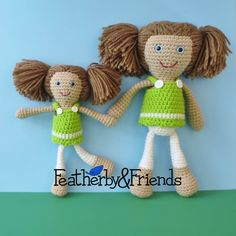 Patterns: Big Little Sisters Dolls with 3 Matching Outfits Crochet eBook http://etsy.me/2Efl6E9 #patterns #set #bundle #ebook #dolls #clothes #clothing #outfits #crochet #crochetdoll #featherbyandfriends
