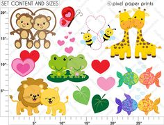 Amor Salvaje Set de Clip Art y Papeles por pixelpaperprints