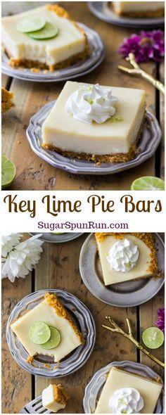 Sweet tart and simple key lime pie dessert bars Sugar Spun Run via sugarspunrun Key Lime Desserts, Easy Desserts, Delicious Desserts, Lemon Desserts, Pudding Desserts, Pie Dessert, Dessert Recipes, Key Lime Pie Bars, Lime Recipes
