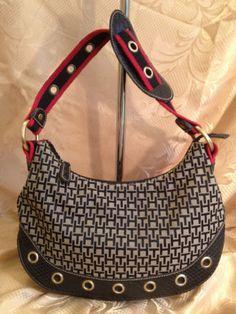 Tommy Hilfiger Cloth Hobo Bk Red Wh Signature Shoulder Bag w Rivets b1b5a9b434