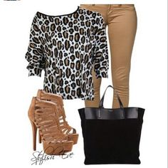 Fall outfit; with black leather jacket