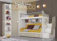 La cameretta #sumisura per Te! Cabina MAXI, Letto soppalco, Scala contenitore, Divano doppia rete doghe. www.ibcamerette.it