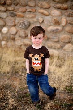 Boys Monster Applique Shirt Brown by magicalscraps on Etsy, $27.00