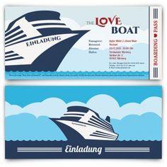 #Hochzeitseinladungen als #Kreuzfahrt #Ticket. Mit eigenem Text und echtem Abriss. Auf http://www.kartenmachen.de/shop/hochzeitskarten-kreuzfahrt-ticket.html