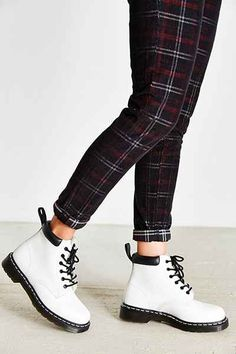 Dr. Martens Padded Collar 6-Eye Boot  i just really want some skinny plaid pants like these