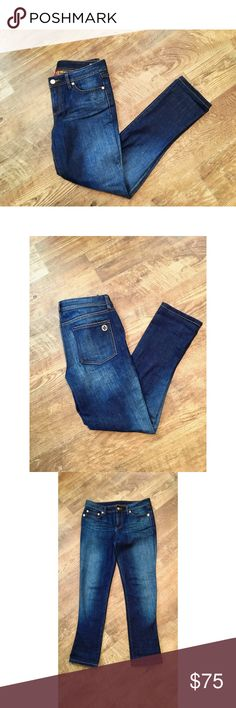 TORY BURCH • Classic Tory Jeans • Size 28 EUC • Tory Burch medium wash denim jeans • Gold tone logo embossed hardware and stacked T on the back pocket • Size 28 Tory Burch Jeans Straight Leg
