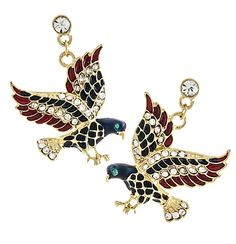 American Patriotic Eagle Drop Earrings A beautiful pair of American patriotic eagle drop earrings with wings in red and blue enamel and 2 rows of sparkling diamond like crystals. The eagles tail is encrusted in small sparkling crystals and the body is blue enamel. Gold and silver plate. Price: $14.50 #American eagle earrings #patriotic earrings #eagle earrings SEE DETAILS: http://www.starsandstripesproducts.com/american-patriotic-eagle-drop-earrings/