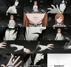Bleach caption - one of the saddest scenes in the whole Bleach anime.  Why do I keep liking UlquiHime pins??? It just makes me depressed... he never got to really find happiness and she's basically forever alone if this is the case... :'(