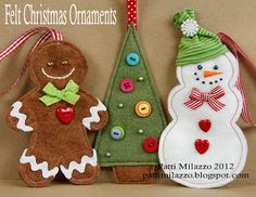 Adorable, no-nonsense DIY felt Christmas ornaments--looks like they used cookie cutters for templates. Perfect for cookie or candy themed holiday decor. There ya go!