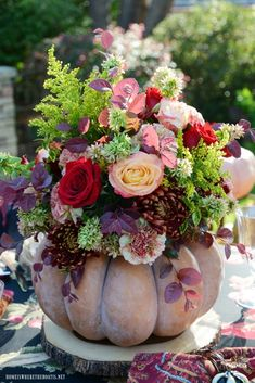Create a blooming pumpkin as a centerpiece for your fall or Thanksgiving table the easy way~ no cutting required! Pumpkin Arrangements, Pumpkin Centerpieces, Floral Arrangements, Fake Pumpkins, Plastic Pumpkins, Pumpkin Topiary, Pumpkin Wreath, Deco Floral, Floral Foam