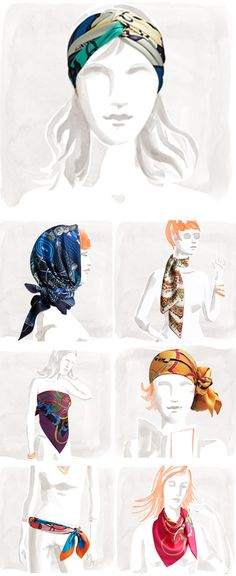 Hermes, Paris, scarves; How to wear them