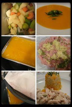 Cozinhar 3 em 1 - pirâmide  Creme de legumes com arroz de cenoura e peitos de frango ao vapor.  Refeição para 5 pessoas      Ingredientes p...