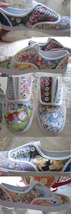 For my friend Meaghan, who wanted Alice shoes. Markers on white keds Just so you know the heels have the mad hatter hat and the cheshire cat on them, I . Alice in Wonderland Shoes