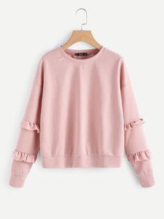 To find out about the Drop Shoulder Ruffle Sleeve Sweatshirt at SHEIN, part of our latest Sweatshirts ready to shop online today! Sweatshirts Online, Hooded Sweatshirts, Fashion News, Fashion Outfits, Womens Fashion, Sweaters And Jeans, Ruffle Sleeve, Autumn Fashion, Cute Outfits
