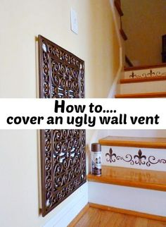 repurposed door mat to conver and ugly wall vent.How to cover an ugly wall vent on the cheap. DIY home project.