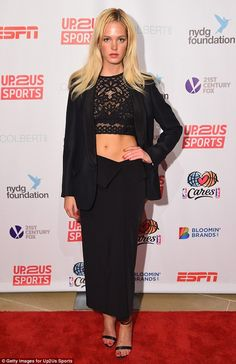 Showing support: Erin Heatherton hit the red carpet at the Up2Us Sports Gala on Wednesday ...