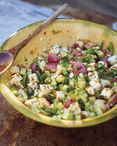 Potato Salad Reboot: Light on the spuds & heavy on green beans, leeks, celery for crunch, & cubed tofu for more protein, Wholeliving.com