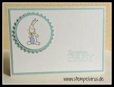 Stampin Up Babykarte junge kleine ganz groß hase wildleder himmelblau