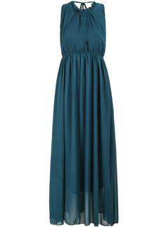 Green Sleeveless Backless Chiffon Pleated Maxi Dress 17.00