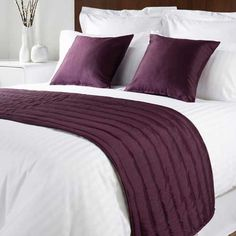 Sicily Design Quilted Bed Runner - High Quality Faux Silk - Purple