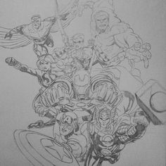 Done sketching... Then add some colors later... #wip #avengers #avengersdrawing #marvel #marveldrawing #ironman #captainamerica #thor #blackwidow #hawkeye #hulk #falcon #art #illustration #sketch #drawing
