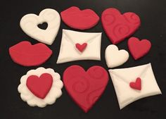 Set of 10 x edible icing Love themed cupcake toppers cake decorations. - hearts lips love letter. Available from my EBay store - £14.50.