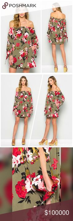 Gorgeous Olive off shoulder cuff tie sleeve dress! Beautiful floral contrast in this easy to wear tunic dress ***with pockets*** cuffed sleeves with ties! Dresses