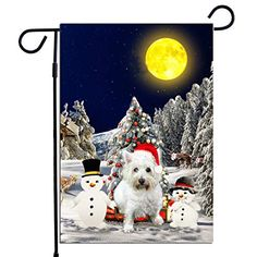 PrintYmotion West Highland White Terrier Dog with Snowman Christmas Holidays Garden Flag, Dog Lovers Gift (12 x 18 In... #West Highland White Terrier #Dog Lovers gift #Christmas Gift #Christmas Flag