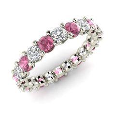 Wedding Anniversary Band Certified 3 08 Ct Pink White Sapphire 14k White Gold…