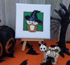 Excited to share the latest addition to my #etsy shop: Bewitching Owl - Halloween Decoration - Gift for Owl and Halloween Lovers - stretched on 4x4 in canvas - finished cross stitch #homedecor #halloween https://etsy.me/2K6FMjm