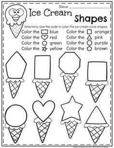 Preschool Shapes Worksheets – Ice Cream Theme - Life and hacks Preschool Learning Activities, Preschool Shapes, Preschool Lessons, Preschool Classroom, Kindergarten Worksheets, Toddler Activities, Preschool Activities, Kids Learning, Learning Shapes