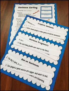Fun way to practice sentence-writing skills! Students work with a partner or team to sort sentence strips into three categories: complete sentences, fragments, and run-ons. This activity is included in Laura Candler's Sentence Go Round. $