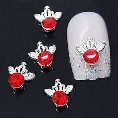 Tint 10pcs Silver Crown 3D Alloy Red Rhinestone Nail Art Decoration ** Visit the image link more details.