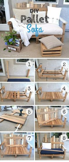 An easy tutorial for an easy to build DIY sofa from pallet wood DIY Home Decor I Pallet Furniture Build decor DIY Easy Home Pallet Sofá tutorial Wood Diy Pallet Sofa, Diy Pallet Furniture, Furniture Ideas, Outdoor Furniture, Pallet Diy Decor, Rustic Furniture, Decor Diy, Diy Pallet Patio Furniture, Pallet Diy Easy