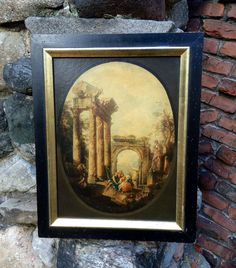 Vintage BORGHESE Print, Classic Roman Scene , Ruins Lion Fountain Columns Statues, LARGE Print On Board w Wooden Frame, Praying To The Gods by TallTimberAntiques on Etsy