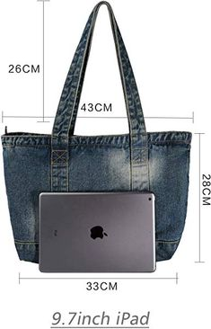 Amazon.com  Vantoo Denim Handbag Shoulder Bag Purse Tote Bag with Zipper  and Pockets for Men and Women (Navy Blue)  Shoes 4ccf8bbde6