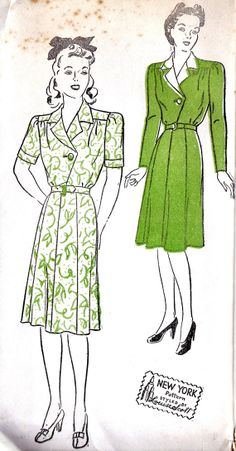 1940s Misses Shirt Dress Vintage Sewing Pattern by MissBettysAttic, $28.00
